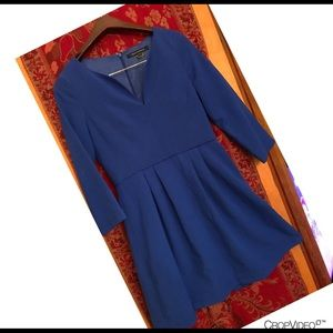 French Connection Size 6 Blue Dress 3/4 sleeves